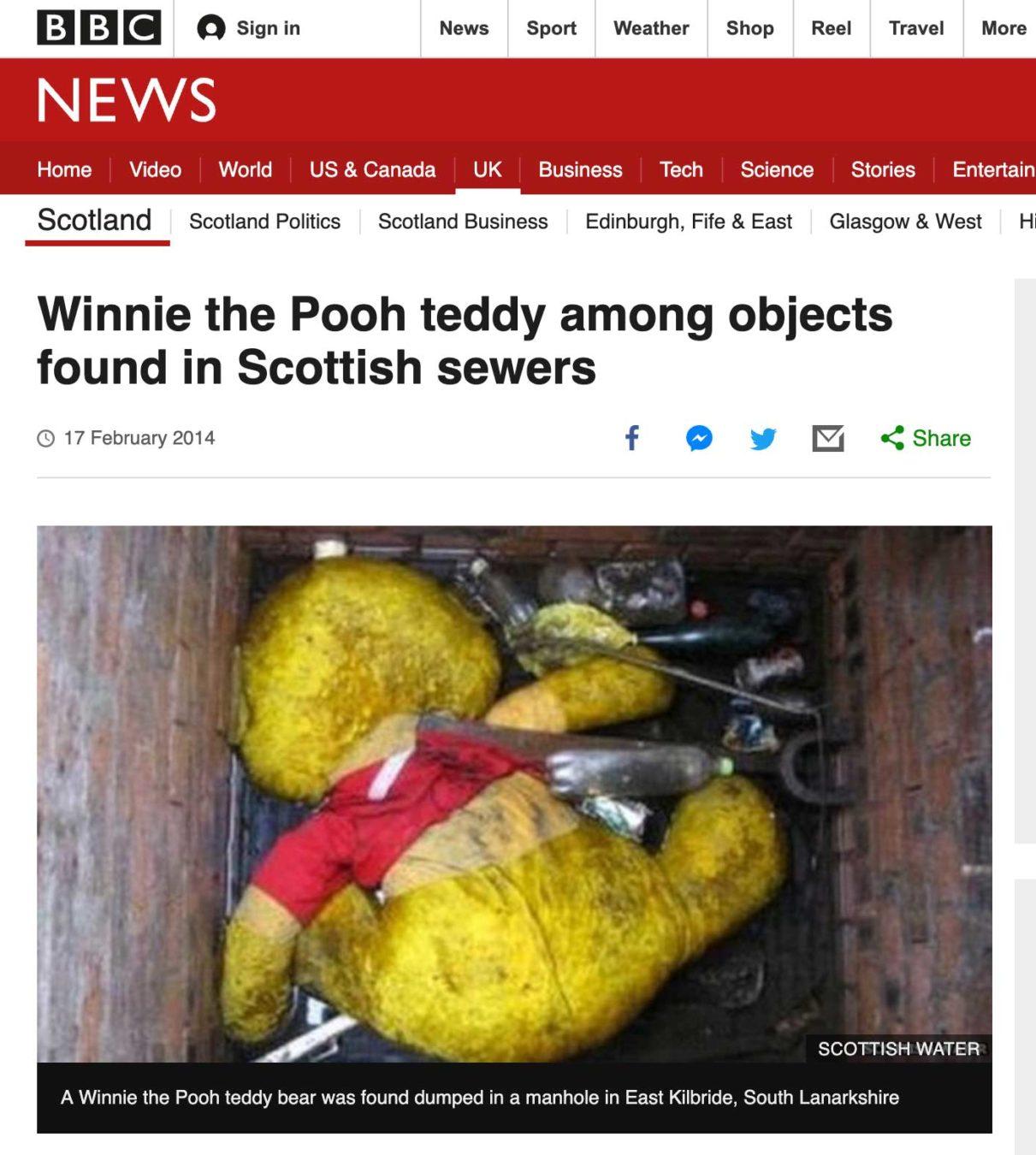 Pooh bear down drain